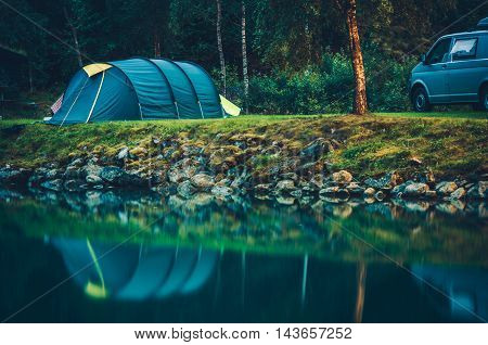 Camping on the Glaciar Lake. Tent Camping on the Campsite.