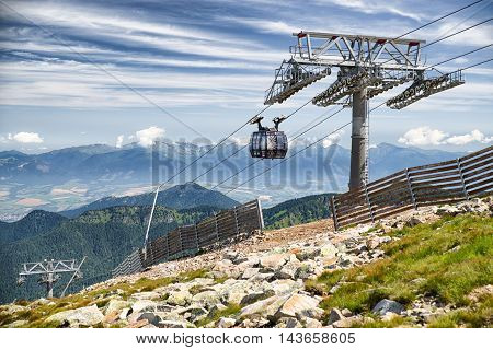 CHOPOK SLOVAKIA - JUN 20: Ropeway Funitel in Low Tatras mountains on Jun 2 2016 in Chopok