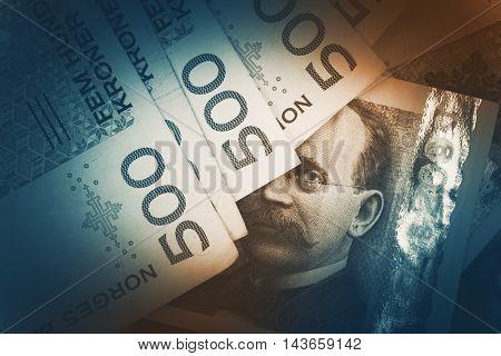 Norwegian Krone Banknotes Closeup Photo. Norwegian Currency Concept.