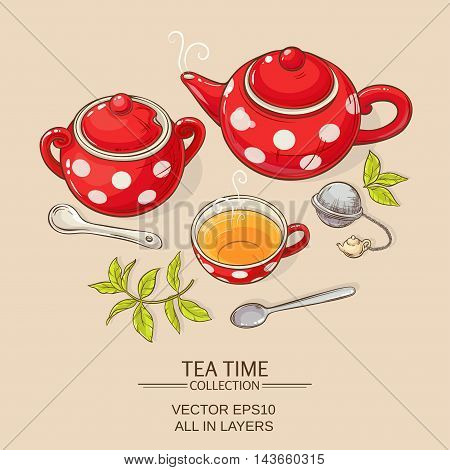 Illustration with cup of tea teapot and sugar bowl on brown background