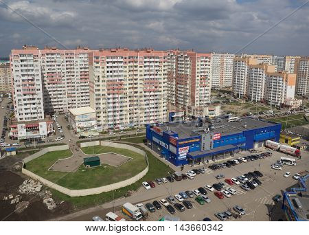 KRASNODAR, RUSSIA - MARCH 27, 2016 : top View of the city of Krasnodar . Krasnodar a major regional city in the South of Russia