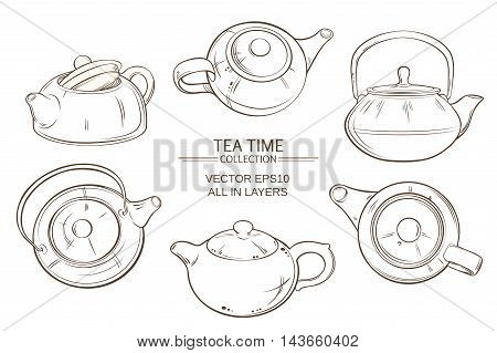 Illustration with teapots vector set on white background