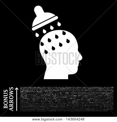Brain Washing icon with 1200 bonus arrow and direction pictograms. Vector illustration style is flat iconic symbols, white color, black background.