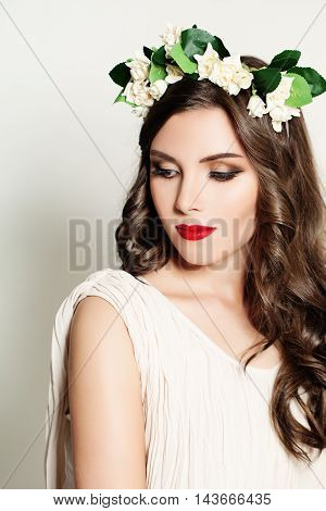 Beautiful Modest Girl with White Flowers on gray
