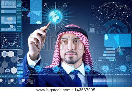 Arab man in data mining concept