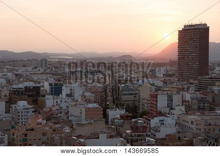 Alicante, Spain - SEPTEMBER 2015: View of the city of Alicante