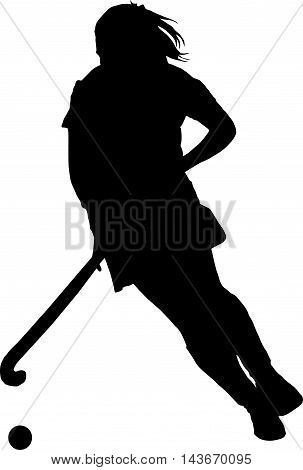 Silhouette Of Girl Ladies Hockey Player Dribbling  Ball