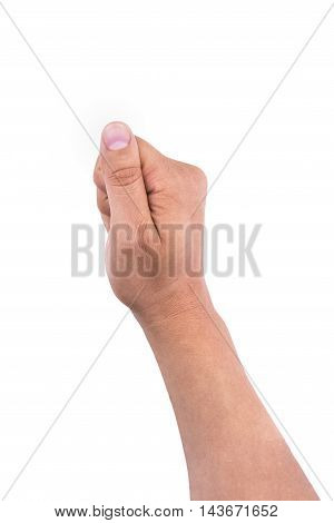 Hand Of Man Holding Gesture Isolated On White Background