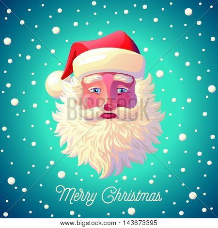 Vector illustration background of Santa Claus with snowfall. Postcard, Greeting Card, Poster, Banner