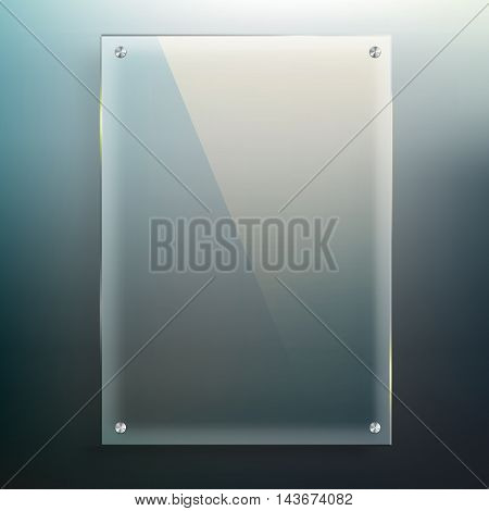 Vector glass frame at blur abstract background for you business design and information.
