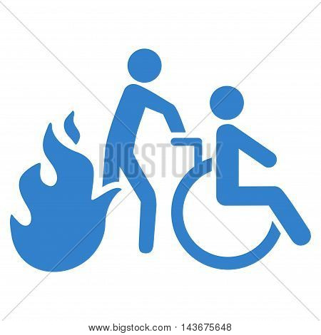 Fire Patient Evacuation icon. Vector style is flat iconic symbol with rounded angles, cobalt color, white background.