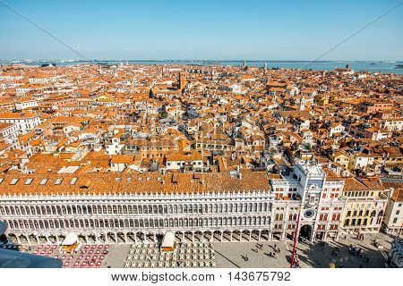 Aerial view from San Marks campanile on San Polo and San Marco region in Venice