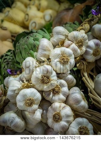 Pile of fresh garlic on sale in the market