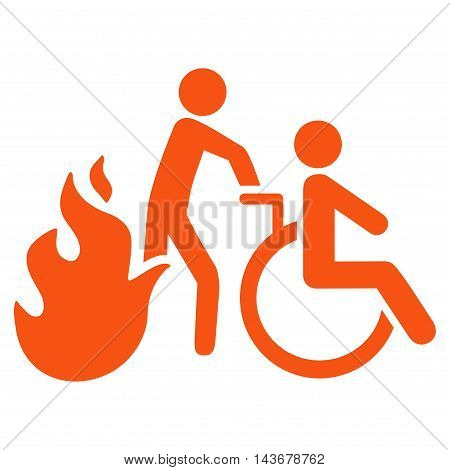 Fire Patient Evacuation icon. Vector style is flat iconic symbol with rounded angles, orange color, white background.