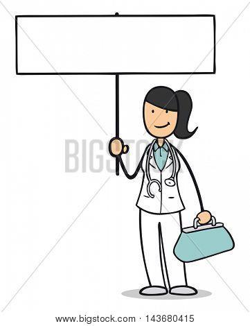 Cartoon nurse or midwife holding up a blank sign
