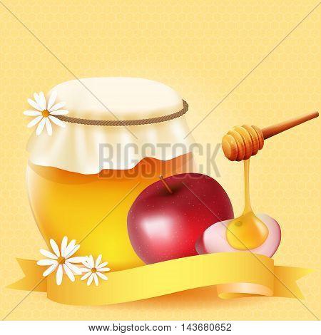 Traditional apple slice and honey. Design for Rosh Hashanah (Jewish New Year).
