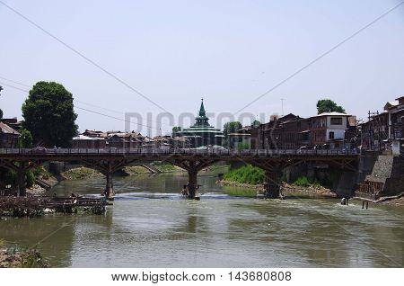 River in Srinagar in Kashmir, in India