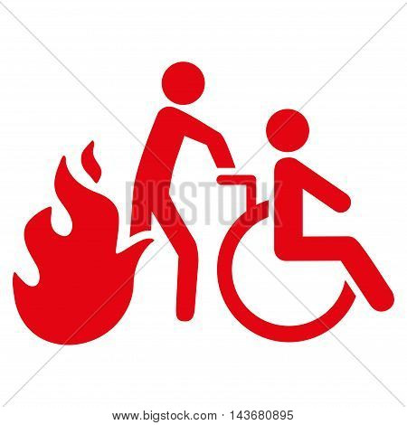 Fire Patient Evacuation icon. Vector style is flat iconic symbol with rounded angles, red color, white background.