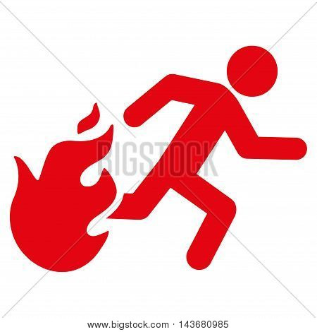 Fired Running Man icon. Vector style is flat iconic symbol with rounded angles, red color, white background.