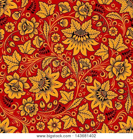 Vector illustration of Blue flowers in traditional russian khokhloma seamless pattern.
