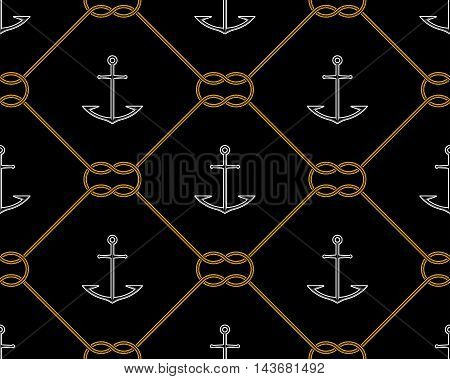 Vector illustration of Anchors and knot seamless pattern