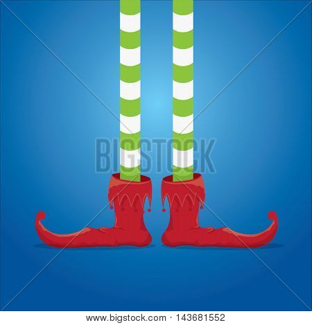 vector creative merry christmas greeting card, christmas cartoon elfs legs