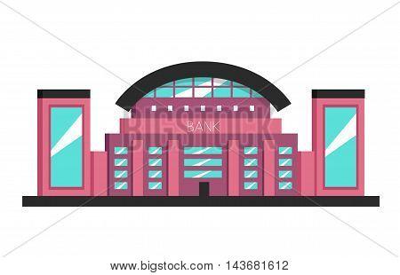Bank building. Flat vector illustration. Constructivism style. Modern architecture. Bright design