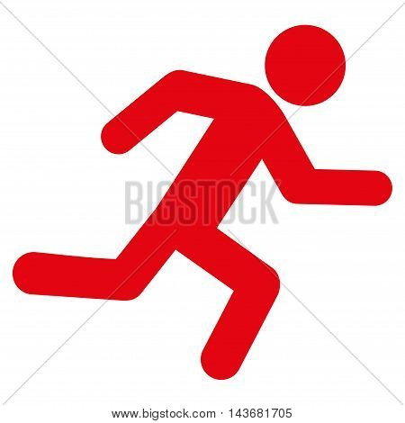 Running Man icon. Vector style is flat iconic symbol with rounded angles, red color, white background.