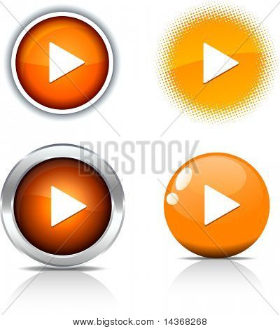 Play beautiful buttons. Vector illustration.