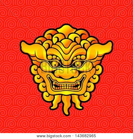 Vector illustration of Dragon gold head on Chinese seamless background.