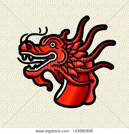 Vector illustration of Dragon red head on Chinese seamless background.
