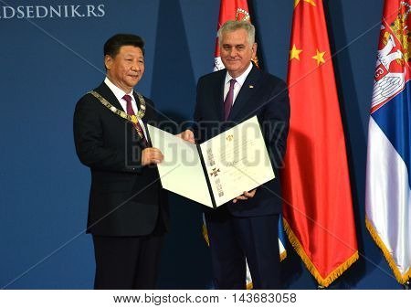 Belgrade Serbia. 18th June 2016. President of the People's Republic of China Xi Jinping on an official three-day visit to the Republic of Serbia June 17-19 at the invitation of President of Republic of Serbia Tomislav Nikolic