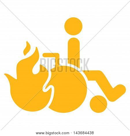 Burn Patient icon. Vector style is flat iconic symbol with rounded angles, yellow color, white background.