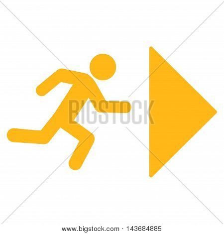 Exit Direction icon. Vector style is flat iconic symbol with rounded angles, yellow color, white background.