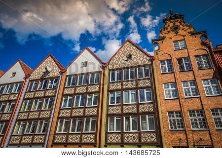 Colorful houses - tenements in old town Gdansk Poland