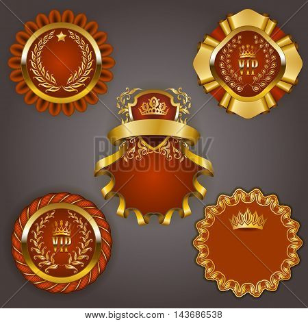 Set of elegant templates for gold vip frames with laurel wreaths on gray background. Filigree border, crown in vintage style for graphic design of club card, logo, icon. Vector illustration EPS 10.