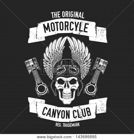 Hand drawn quote about motorcycles and bikers with skull