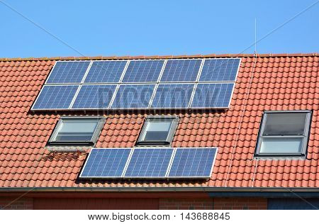 Solar Energy Panels On Roof Of House