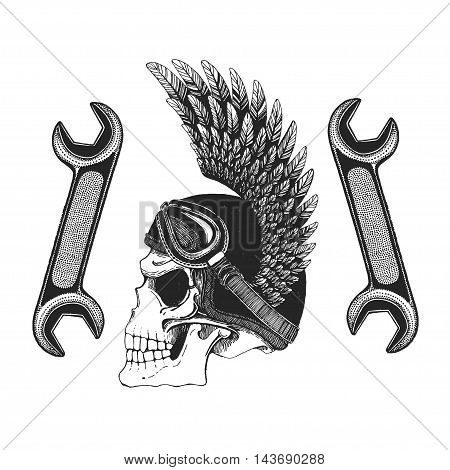 Evil skull with spanners Hand drawn vector icon for any kind of design