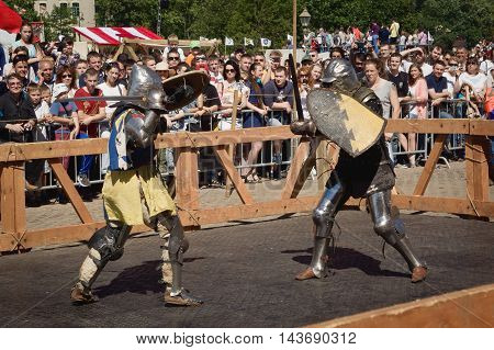 Saint-petersburg, Russia - July 17, 2016: Battle On A Neva Knightly Tournament. Armed Members In Kni