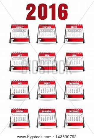 Calendar for 2016 th year. Loose-leaf desk calendar. Twelve months. Vector illustration.