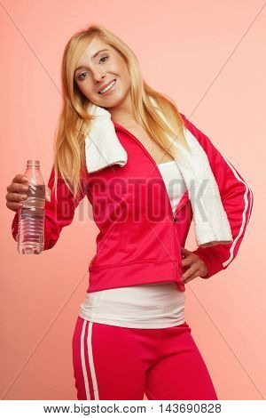 Fitness Sport Woman White Towel On Shoulders, Studio Shot