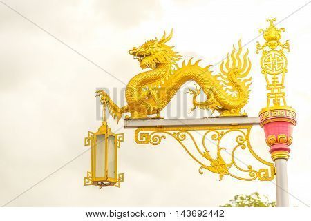 The Gold dragon on  street lamp lighting.