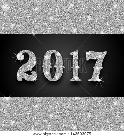 Illustration Shimmering Background with Silver Dust for Happy New Year 2017 - Vector