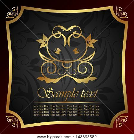 Illustration ornate heraldic decorative golden frame - vector