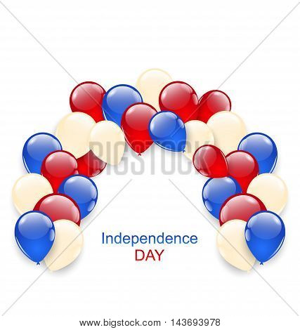 Illustration American Independence Day Decoration with Colored Balloons - Vector