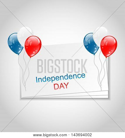 Illustration Greeting Card with Balloons for Independence Day USA - Vector