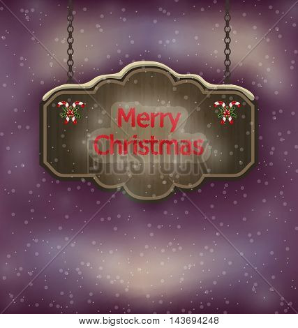Illustration night background with hanging Merry Christmas wooden board - vector