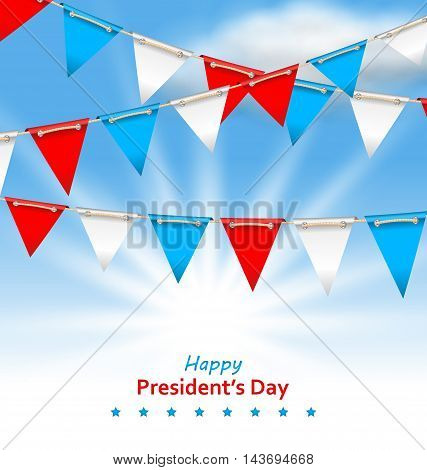 Illustration Bunting Flags in Patriotic Colors of USA for Happy Presidents Day - Vector