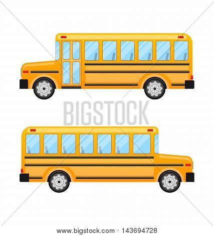 Illustration School Bus Isolated on White Background - Vector